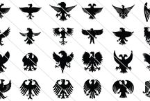 Heraldic Eagles Silhouettes / An eagle often symbolizes strength and courage so that an eagle is the best matching element to feature in heraldic arts. A set of 24 heraldic eagles silhouettes given here will act as a major source of vector stocks for your designs.