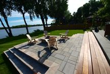 Plantenance - Adirondack View / Raised patio with out door fireplace, Ipe steps to break the hardscape, covered dinning area