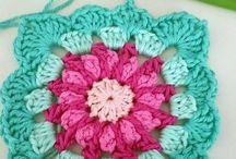 Mormorsrutor, Granny squares, hexagons / Virkning, Crochet