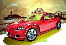 """Mazda Car Postcard Series by Mikio Nakajima / It is our pleasure to present the """"Mazda Car Postcard"""" series featuring watercolor paintings by former Mazda designer Mikio Nakajima."""