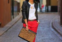 Czerwone spodnie outfit