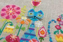 + Cross Stitch Love + / Modern Cross Stitch. Cross stitching by hand. Talented fiber artists stitching on the grid.
