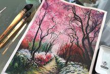Cielo rosa arbolado.
