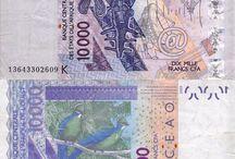 Billets Afrique de l'Ouest / Le XOF ou franc CFA est valable dans ces pays : le Bénin, le Burkina Faso, la Côte d'Ivoire, la Guinée-Bissau, le Mali, le Niger, le Sénégal et le Togo. Il existe en circulation, des billets de 500, 1000, 2000, 5000 et 10000. Date d'émission : 2003