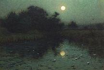 Night landscape painting