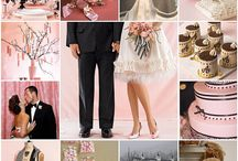 Black-white-pink wedding