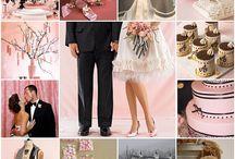 Black-white-pink wedding