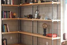 Shelving and living room