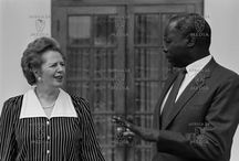 Margaret Thatcher's Visit to Kenya, 1988 / On January 4th 1988 Margaret Thatcher made her first state visit to Africa when she visited Kenya. She was welcomed by traditional dancers and escorted by the then president, Daniel Arap Moi. Her three day stay was punctuated with visits to tea farms in Kiambaa where she and her husband sampled the texture of the crop; she went to primary schools in the Rift Valley where she greeted the children and even had the privilege of attending a graduation ceremony at the Moi University.