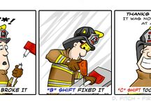 Firefighter Cartoons / Fireman cartoons has the light side of what happens at the fire station.