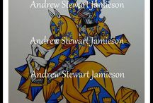 Armorial Knights / Medieval style equestrian armorial figures designed and painted for patrons and collectors by heraldic artist Andrew Stewart Jamieson. www.andrewstewartjamieson.com