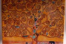 Mattonella ceramica.Albero della vita di Klimt.