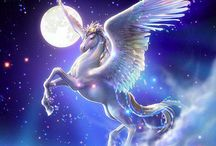 Pegasus  / A Pegasus is one of the best known creatures in Greek mythology. He is a winged divine stallion usually depicted as pure white in color. He was sired by Poseidon, in his role as horse-god, and foaled by the Gorgon Medusa. Beautiful, enchanting