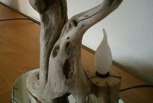 lampu fosil kayu