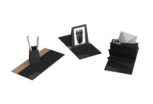"""The Philosopher's Set / Writing desk set composed of pen-holder, photo-frame and letter-rack that open out from squares of recycled card (18 x 18cm). The featured image on the cover is of the celebrated bronze """"Testa del Filosofo"""" (the Philosopher's Head) held in the MANRC museum. Designed by Roberto Giacomucci for the Museo Archeologico Nazionale, Reggio Calabria."""