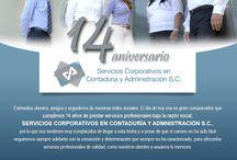 14 años de prestar servicios profesionales / Estimados clientes, amigos y seguidores de nuestras redes sociales. El día de hoy nos es grato comunicarles que cumplimos 14 años de prestar servicios profesionales bajo la razón social, SERVICIOS CORPORATIVOS EN CONTADURÍA Y ADMNISTRACIÓN S.C.