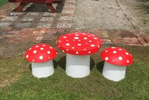Concrete mushroom table and chairs