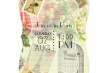 Vintage Shabby-Chic Parisian Themed Wedding Suite / Paris theme Wedding Party Invitations and accessories ready to be customized to your event specifics.