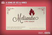 Song of Ice and Hires: Game of Thrones Business Cards / We set out to re-imagine GOT characters as modern businesspeople, answering the questions: What if we lived with these people today? Who would they be, what would they do?
