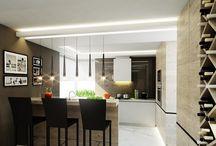 Dom w Jaroszowej Woli - Luxurious Style / Projekt wnętrza z użyciem szlachetnych materiałów. Znajdziemy tu bielone drewno, marmur oraz czarne szkło nad blatem kuchennym.
