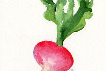 watercolor fruits & veggies