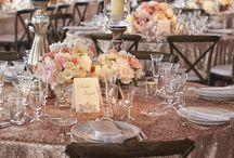 Blush ivory peach glitter wedding