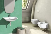 Green One Collection / The collection has a sober and informal look: the thin edges, resembling the typical style of the old enameled metal bowls, give a remarkably lightweight, result of the ongoing experimentation of Catalano in that way. The collection is now made up of 4 wall-hung medium sized washbasins: 65x50 cm, 60x47 .5 cm, 55x45 cm, 45x cm. Green One collection can be matched with New Light and new Sfera Eco Newflush toilets, which reflect the same positioning and shape of the washbasins.