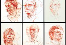 linear portrait drawinglinear portrais
