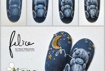 мишка на ногтях
