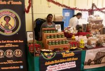 Markets and Stalls / Here you can see the MaRobert's team in action. We frequently attend famers markets and food shows where we can showcase our products and engage customers by offering them the authentic taste of Tanzania.