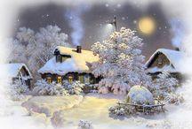 Talvinen ja luminen talo
