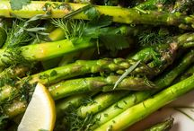 Springtime Dishes / Recipes for spring ingredients, strawberries, rhubarb and asparagus.
