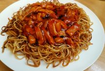 Sweet and Sour pork with noodles.
