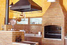fogão a lenha, lareira e churrasqueira