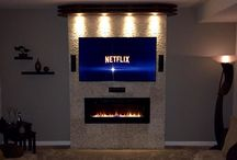 Tv/electric fireplace wall combo