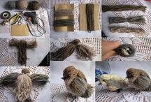 hímzőfonálból madár