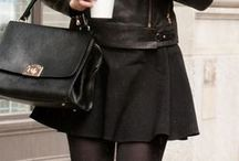 leather jacket + skirt