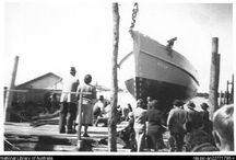 Wright Shipyards Tuncurry NSW 1875-1954 / A young Scottish shipwright arrived in Australia on the 8th May 1860 with a dream to build ships. After a brief time as a sawmill owner at Bungwahl he established a shipyards in Tuncurry, NSW. With the building of the Caledonia in 1869 at Bungwahl an 87 year family wooden shipbuilding tradition began which ended in 1954 with the launch of the Santa Cruz, started by Ernest Wright in 1946 but not launched until 1954 by a 3rd generation, John Wright Jnr.  The Wright Shipyards closed soon after.