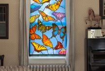 Stained Glass / Temporary 'stained glass' window posters for privacy, color, hide a bad view or fill windows in a new home.