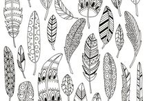 Doodles feathers