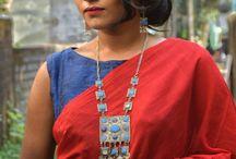 plain saree styling