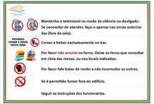 Sinalética BMA Lidia jorge / Sinaleticas criadas a partir de diversas ideias, para mesas, estantes, etc., para a biblioteca municipal de Albufeira.