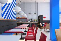 Breakfast room in hotel / Зал для завтраков в отеле / Дизайн интерьера зала для завтраков в апарт-отеле. Шведский стол, открытый буфет, русский авангард, красный цвет в интерьере, синий цвет в интерьере, искусственный камень, фирменный стиль, дизайн по брендбуку, демократичный дизайн, horeca, дизайн ресторана. Open buffet, red colour in interior, blue colour in interior, russian avant garde, restaurant interior, brandbook interior, guideline