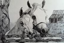 Horses in Pasture / Horses in Pasture - original ink drawing of two horses - $150