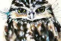 owl watercolors