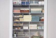Linen Closet ideas / I have always wanted a linen closet, so I am turning my old homeschool closet into one. The kiddos are in college now. So much FUN!!