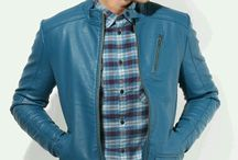 blue Solid Leather Jacket