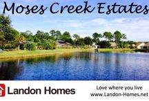 Moss Creek Estates / Prices from the $270,000's -including large homesite! You'll love the new homes by Landon Homes with their open floor plans and side entry garages each with expansive 1/3 acre home sites. The community is situated among mature scenic trees with a community park and neighborhood lakes.Moses Creek, a beautiful neighborhood of established homes with large sites that offer plenty of room for your pool, plus privacy and 'breathing room' between each residence.