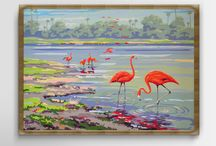 Vintage Prints by Dutch Printery (TDH) / Vintage prints reproduction, tropical plantation, botanical prints, nursery art, circus print, Flamingo prints,