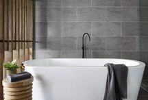Bathrooms with grey tiles